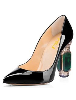 FSJ Women Bridal Pointed Toe Chunky High Heel Crystal Pumps Slip on Wedding Thick Comfort Shoes US Size 4-15 M