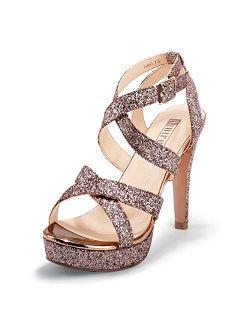 Women's High Heel Cross Strap Buckled Heeled Sandal Strappy Platform Stiletto Party Wedding Dress Shoes