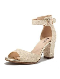Women's Candie-mi Peep Toe Low Block Heels Sandals Ankle Strap Comfy Chunky Wedding Dress Shoes