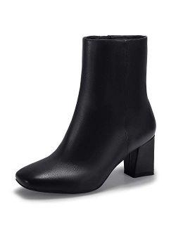 Women's Aliza Fashion Square Toe Short Boots Side Zipper Low Block Heel Ankle Booties