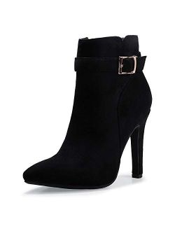 Women's Dana Pointed Toe Stiletto High Heels Ankle Booties Side Zipper Short Boots With Metal Buckle