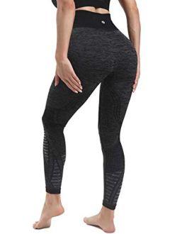 High Waist Seamless Yoga Leggings For Women,tummy Control Laser Cut-out Compression Shapewear Leggings