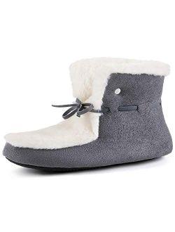 Women's Memory Foam Slipper Bootie House Boot With Rubber Sole