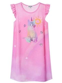 Girls Nightgowns Unicorn/mermaid Pajamas Cotton Sleepwear Night Dresses