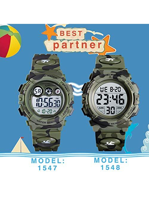 SKMEI Kids Watch, Digital Sports Waterproof Watch for Boys Girls, Outdoor Multifunction Chronograph with Colorful LED Backlight Analog Watches for Children