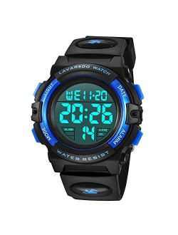 Kid's Watch,Boys Watch Digital Sport Outdoor Multifunction Chronograph LED 50M Waterproof Alarm Calendar Analog Watch for Children with Silicone Band