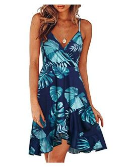 Womens Casual Summer Floral Wrap V Neck Adjustable Spaghetti Casual Ruffle Dress