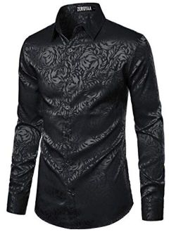 Men's Rose Floral Long Sleeve Dress Shirts Shiny Satin Silk Like Jacquard Party Prom Shirt Tops