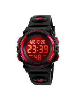 eYotto Kids Digital Sports Watch Waterproof 7-Color Led Backlight Multifuction Wristwatch for Boys Girls Best Toy Christmas Birthday Gifts