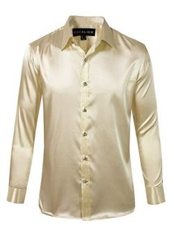 Escalier Mens Long Sleeve Shiny Silk Like Satin Dance Prom Dress Shirt Party Button Down Tuxedo Shirts