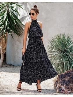 Women's Casual Halter Neck Sleeveless Floral Long Maxi Dress Backless Loose Ruffle Sundress With Belt