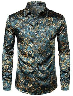 Men's Hipster Printed Silk Like Satin Button Up Dress Shirt For Party Prom