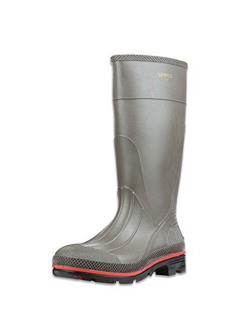 "Servus Pro 15"" PVC Chemical-Resistant Steel Toe Men's Work Boots, Gray, Yellow & Black (75101)"