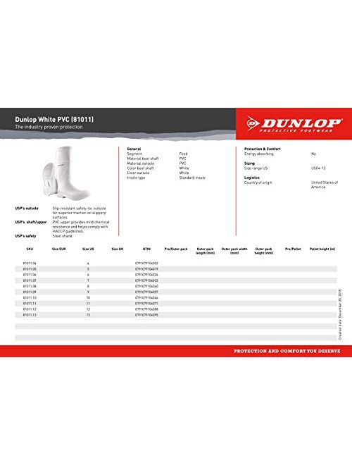 Dunlop 8101104 White PVC Boots, 100% Waterproof PVC, Lightweight and Durable Protective Footwear, Slip-Resistant, Men Size 4/Women Size 6