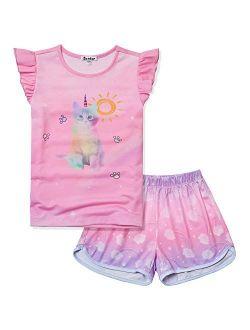 Girls Pajamas Sets Unicorn Pjs Flutter Sleeve Night Shirts For Kids