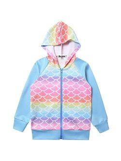 Girls Raglan Hoodie Zip Up Jacket Unicorn Cat Sweatshirt With Pockets