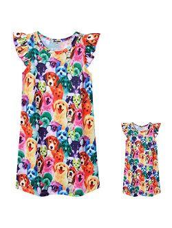 Matching Doll & Girls Nightgowns Pajamas Princess Night Shirts Sleepwear
