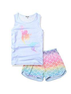 Girls Pajamas Sets Unicorn Pjs Sleeveless Summer Night Shirts For Kids