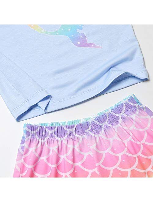 Jxstar Girls Pajamas Sets Unicorn Pjs Sleeveless Summer Night Shirts for Kids