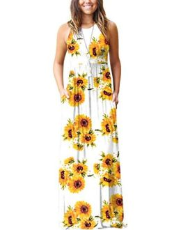 Women's Floral Print Casual Sleeveless Racerback Dress Long Maxi Dresses With Pockets