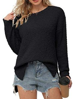 Women's Fuzzy Knitted Sweater Crew-neck Long Sleeve Side Split Loose Casual Knit Pullover Sweater Blouse