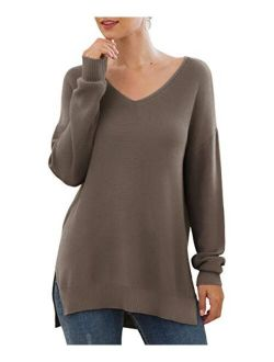 Women's V-neck Long Sleeve Side Split Loose Casual Knit Pullover Sweater Blouse