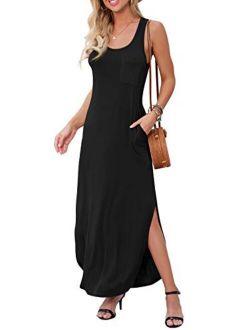 Women's Casual Fit Long Dress Sleeveless Racerback Split Fashion Summer Maxi Dresses With Pocket
