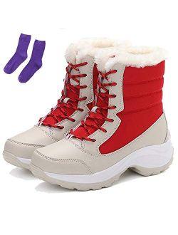KISSOURBABY Women's Fur Lining Winter Boots Outdoor Waterproof Snow Boots
