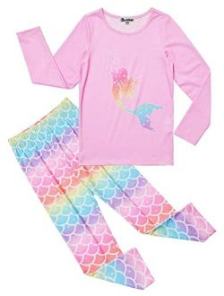 Pajamas For Girls Unicorn Pj Set Kids Long Sleeve Fall Winter Sleepwear
