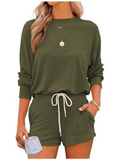Women's Loungewear Set 2 Piece Long Sleeves Pullover Top And Shorts Pajama Sets Nightwear Sleepwear Pj Set