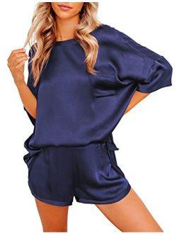 Womens Satin Pajamas Set 2 Pieces Short Sleeves Tops And Shorts Pjs Sets Sleepwear Loungewear Nightwear
