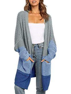 Women's Long Batwing Sleeve Open Front Chunky Oversized Knitted Cardigan Outwear Sweater Coat
