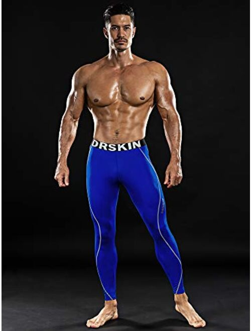 DRSKIN Men's Thermal Wintergear Fleece Cold Compression Tight Base Layer Long Under Sport Leggings Pants