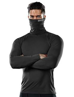 Mask Turtleneck Compression Shirts Top Dry Sports Baselayer Running Long Sleeve Thermal Cold Men