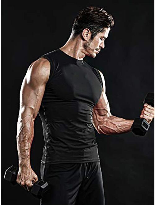 DRSKIN Men's Compression Shirt Tank Tops Undershirts Running Dry Cool Baselayer Sleeveless Workout Gym