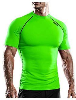 Men's Compression Cool Dry Sports Short Sleeve Shirt Baselayer T-shirt Athletic Running Rashguard