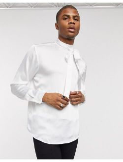 Regular Fit Tie Front Satin Shirt In Ivory