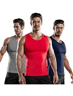 3 Pack Men's Athletic Compression Sleeveless Tank Top Shirt Muscle Running Cool Dry Baselayer Workout