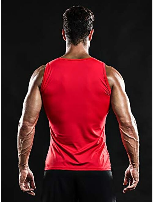 DRSKIN 3 Pack Men's Athletic Compression Sleeveless Tank Top Shirt Muscle Running Cool Dry Baselayer Workout