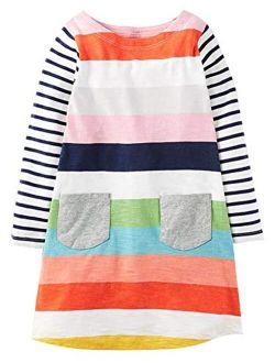 Fiream Girls Casual Dress for Kids Cotton Long Sleeve Shirt Clothes