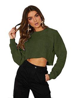 Kyerivs Crop Sweatshirt for Women Crewneck Long Sleeve Workout Tops