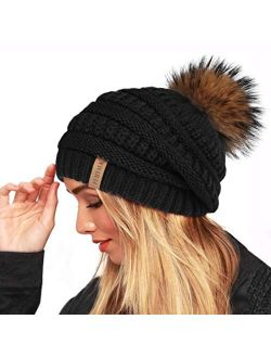 FURTALK Winter Real Fur Pom Beanie Hat Warm Oversized Chunky Cable Knit Slouch Beanie Hats for Women