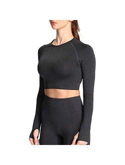 Aoxjox Women's Vital Seamless Workout Long Sleeve Crop Top