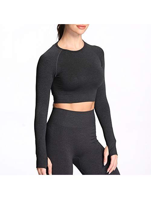 Aoxjox Womens Vital Seamless Workout Long Sleeve Crop Top Gym Sport Shirts