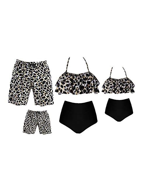 Matching Family Bathing Suits Two Pieces Bikini Set Mommy Daddy and Me Swimwear Summer Beach Leopard Swimsuits