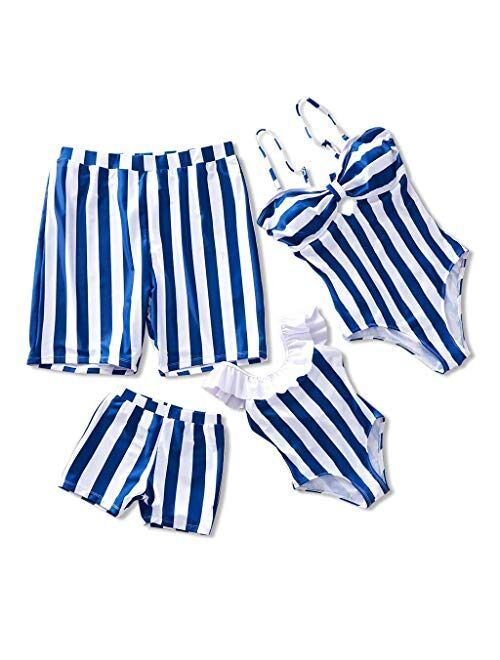 IFFEI Family Matching Swimwear One Piece Bathing Suit Striped Hollow Out Monokini Mommy and Me Beachwear