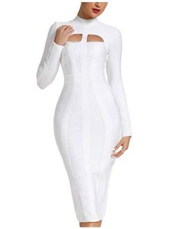 Women's Sexy Cut Out Long Sleeves Midi Bodycon Party Bandage Dress