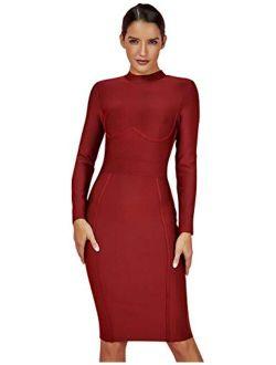 Women's Rayon Long Sleeves Midi Fall Winter Night Club Party Bodycon Bandage Dress