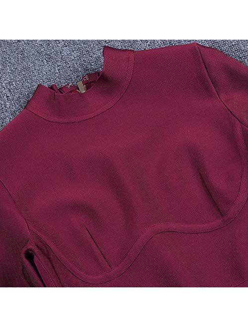 UONBOX Women's Rayon Long Sleeves Midi Fall Winter Night Club Party Bodycon Bandage Dress