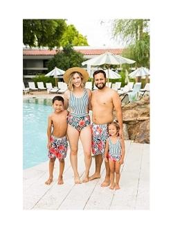IFFEI Family Matching Swimwear One Piece Floral Printed Bathing Suit Tank Top Striped Beachwear